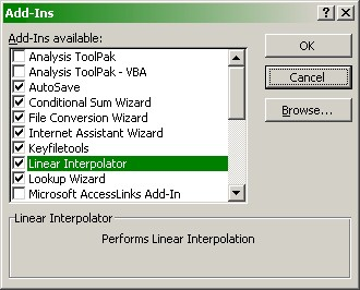 Linear Interpolation Function Installation Instructions Microsoft Excel